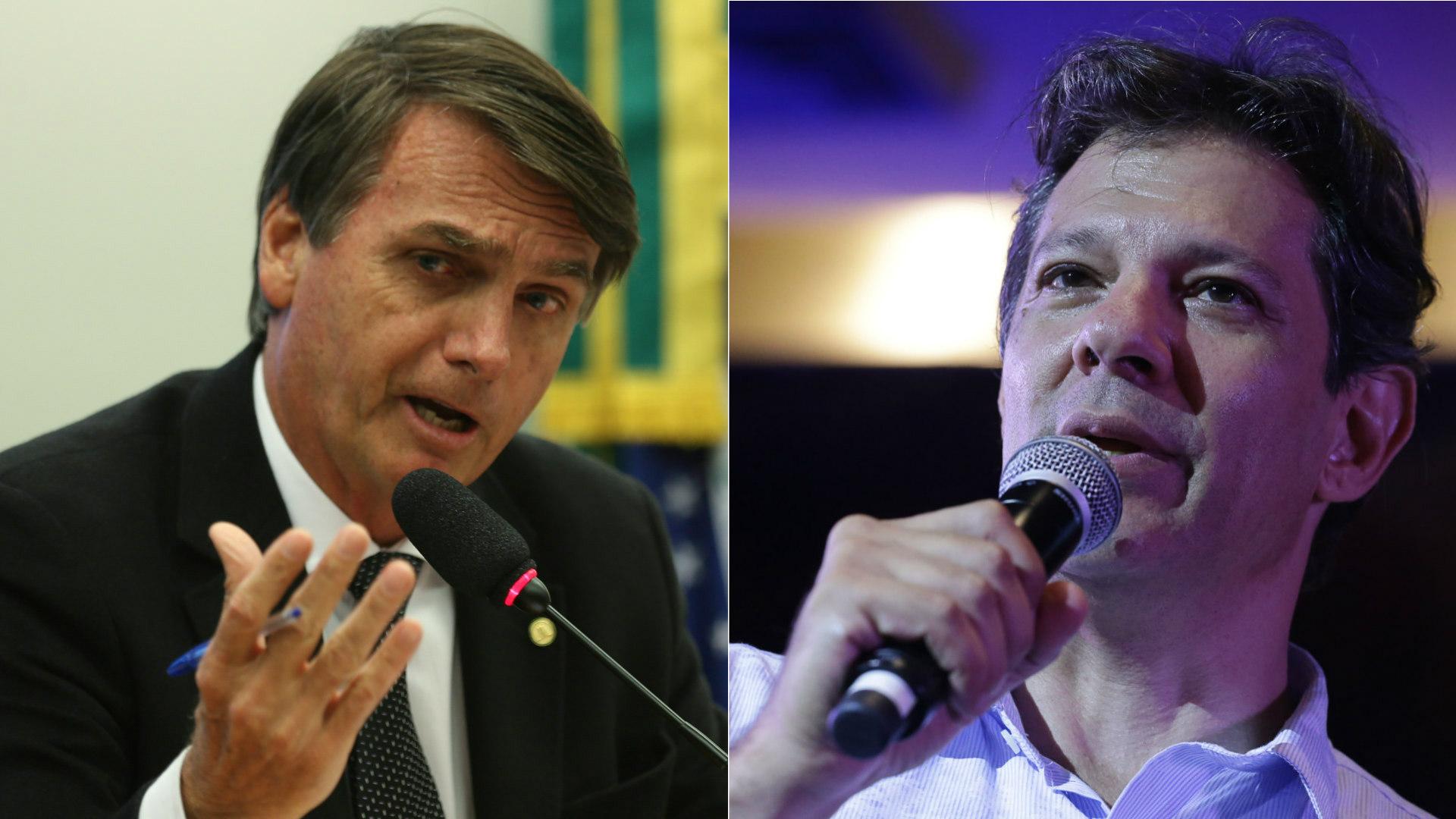 Jair Bolsonaro e Fernando Haddad, candidatos às eleições presidenciais de 2018