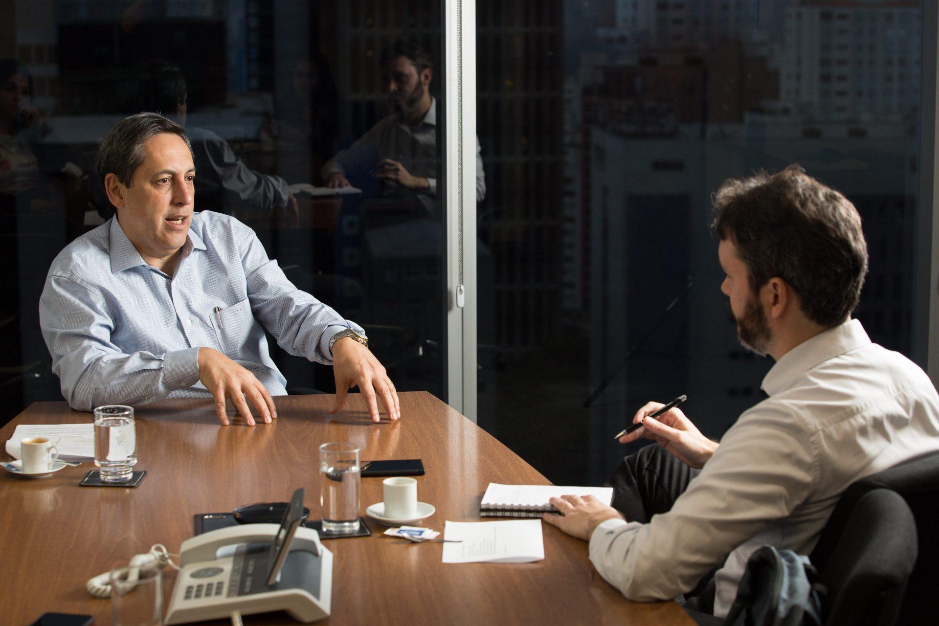 Presidente do Banco Pan Luiz Francisco Monteiro de Barros Neto, e Vinícius Pinheiro