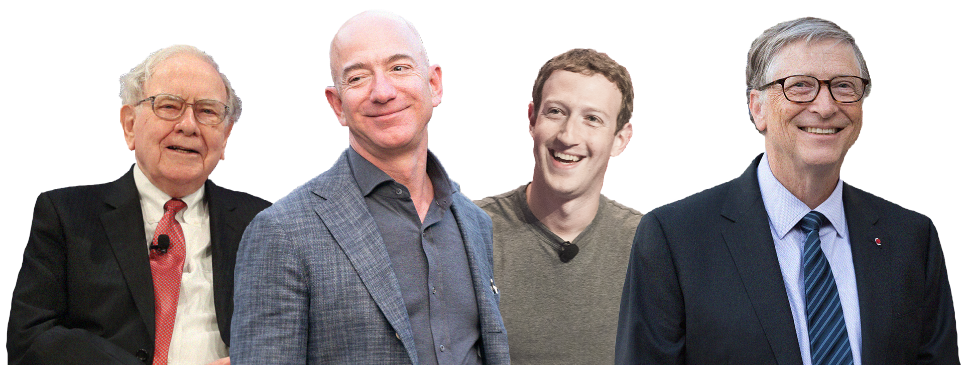Jeff Bezos, Bill Gates, Warren Buffett e Mark Zuckerberg