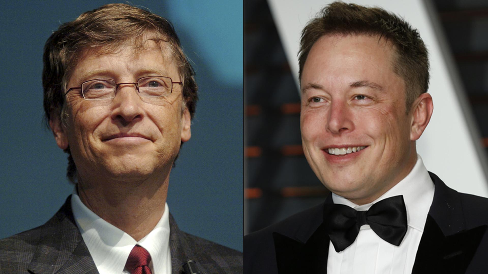 Bill Gates, fundador da Microsoft, e Elon Musk, CEO da Tesla