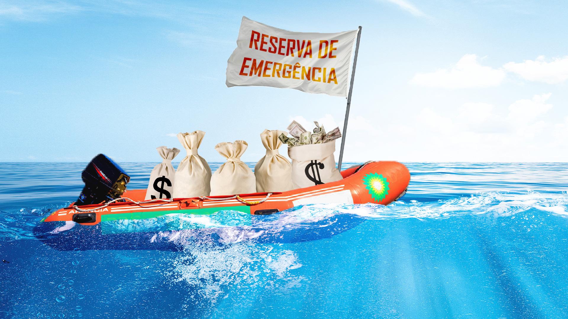 Bote com sacos de dinheiro representa reserva de emergência