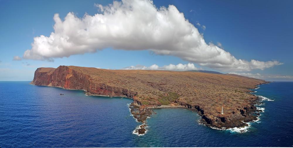 Ilha de Lanai, no Hawaii, vista a partir de imagem de drone