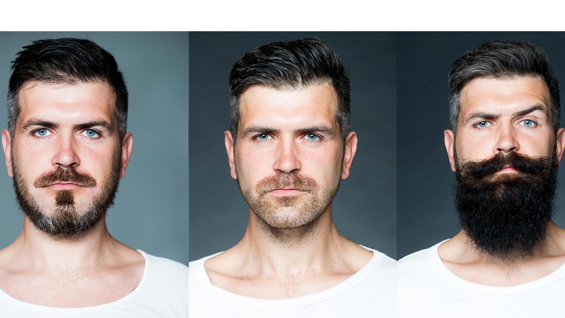 Imagem mostra homem com três tipos diferentes de barba