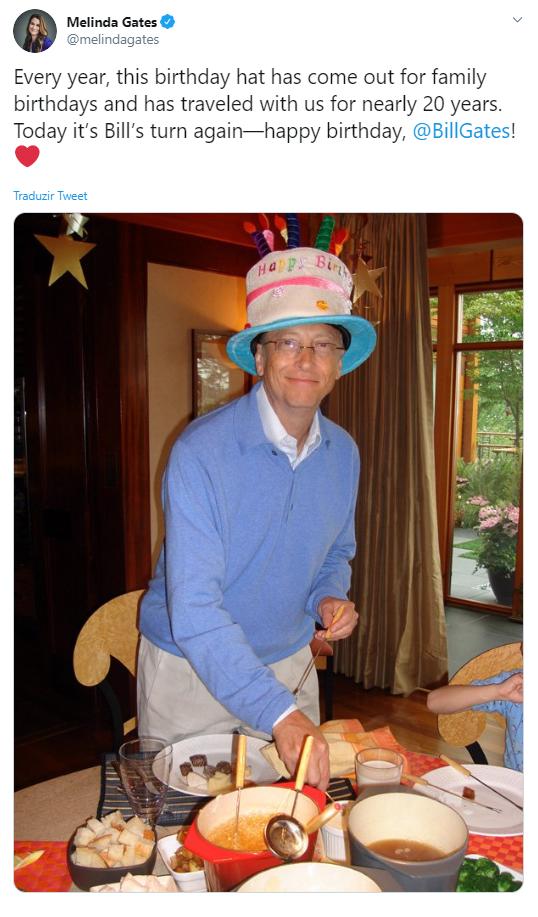 Tuíte de aniversário de Melinda para Bill Gates