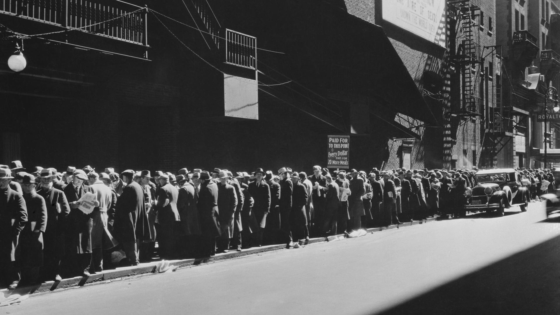 Crise de 1929 - fila de comida