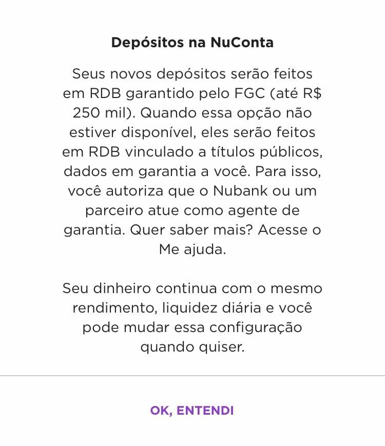Aviso de conversão da NuConta de títulos públicos para RDB do Nubank