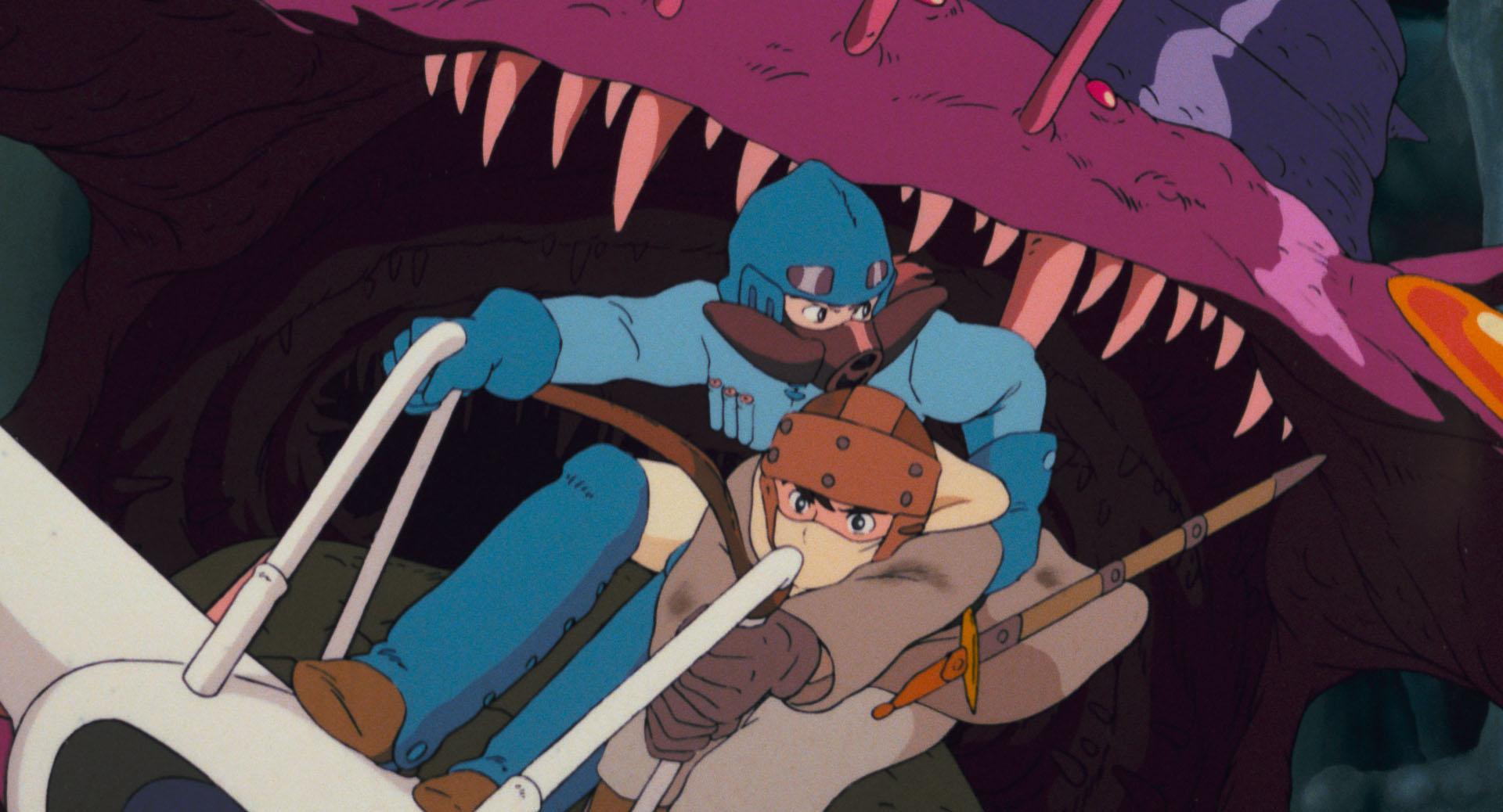 "Cena do filme ""Nausicäa do Vale do Vento"" do Studio Ghibli."