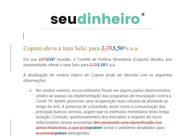 Comparativo Copom Selic juros BC 05-05