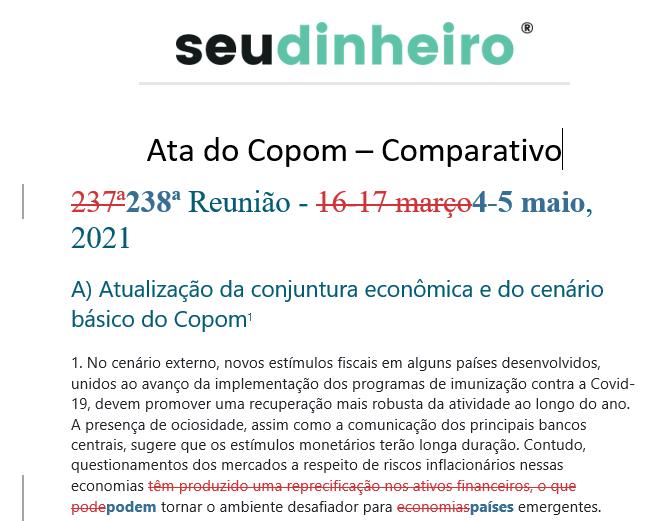 Comparativo ata do Copom BC Selic