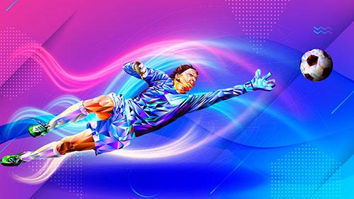 ilustração de goleiro pulando para pegar bola