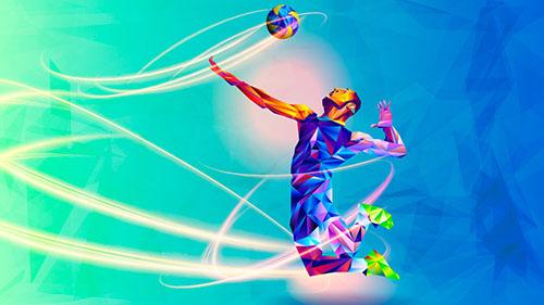 ilustração de jogador de volei no ar prestes a bater na bola