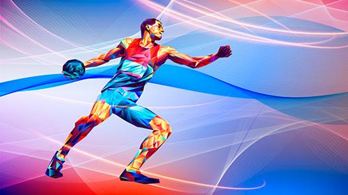ilustração de homem segurando bola para lançar longe