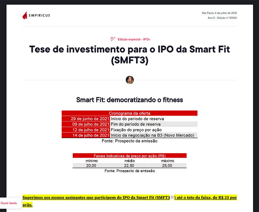 Relatório da Central de IPOs sobre Smartfit SMFT3