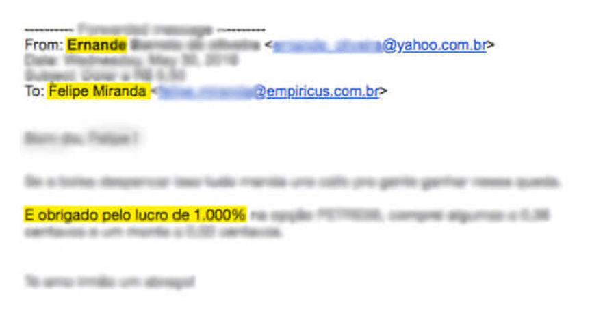 Print de email com depoimento positivo