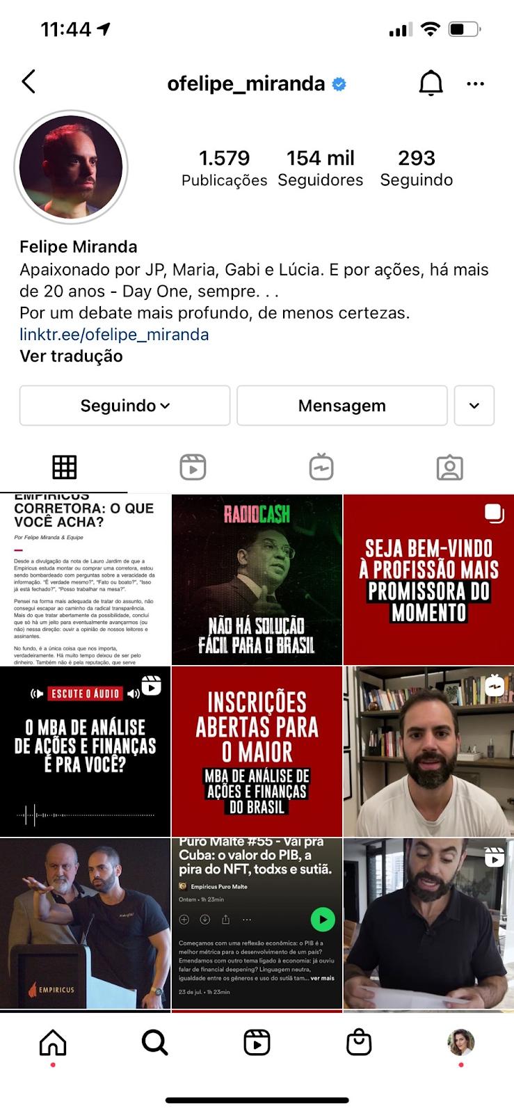 Perfil de Felipe Miranda no Instagram