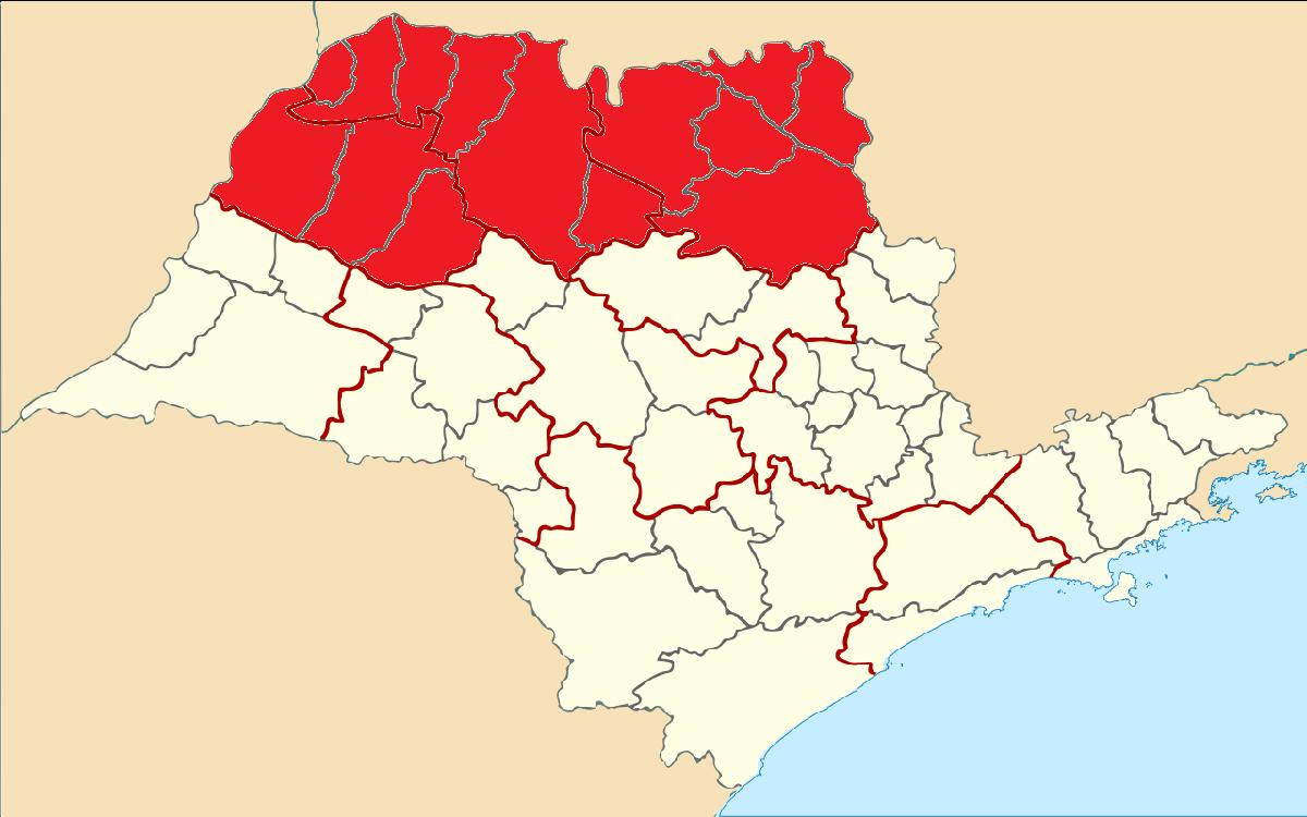 Mapa indicando as porções Norte, Noroeste e Nordeste do Estado de São Paulo