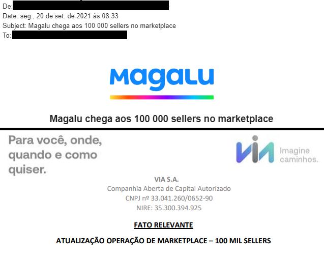 Colagem comparando as comunicações do Magazine Luiza (MGLU3) e Via Varejo (VVAR3) a respeito da marca de 100 mil vendedores no marketplace