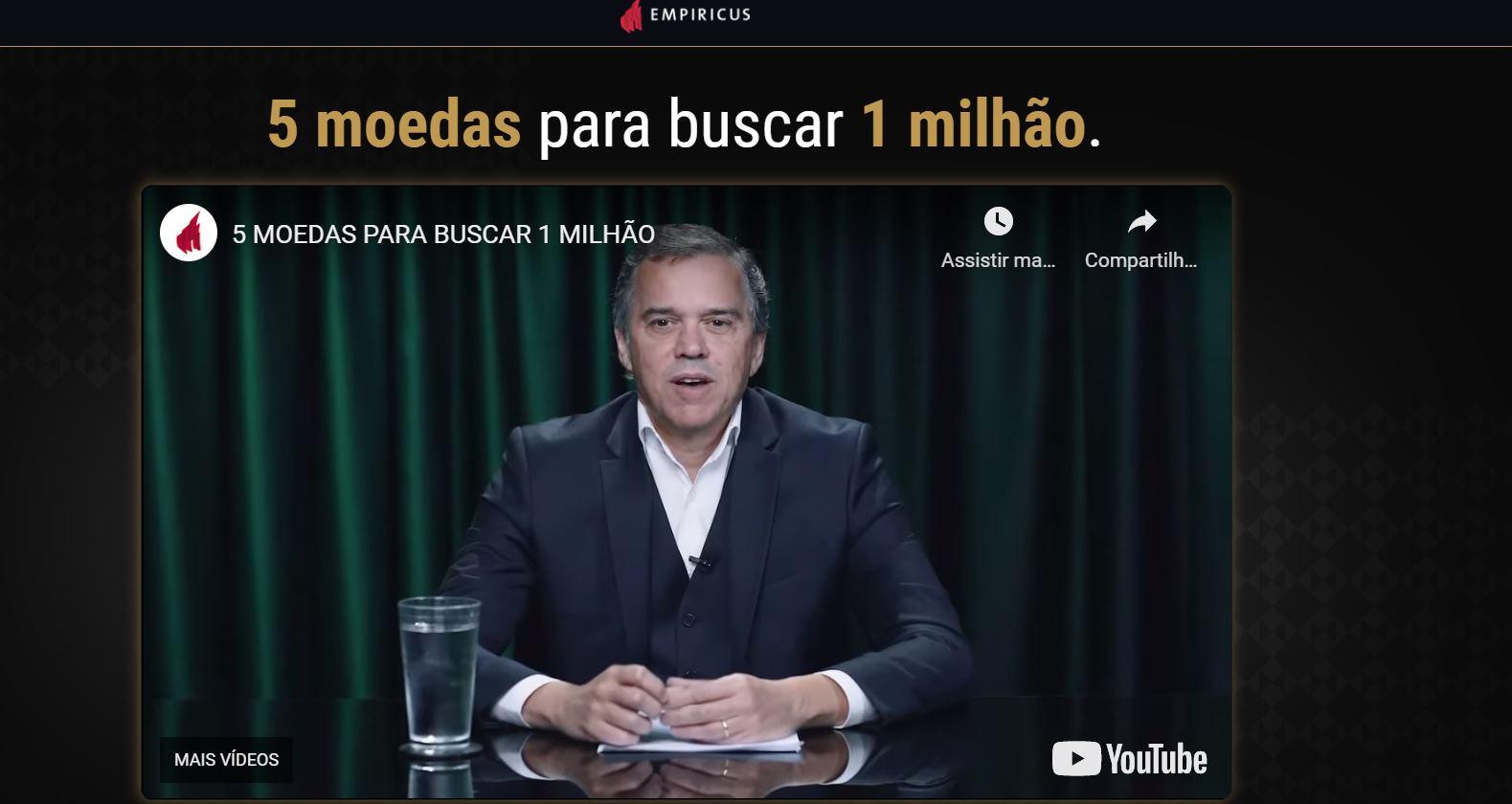 Caio Mesquita, sócio-fundador da Empirucus, em transmissão de live para revelação das 5 criptomoedas para buscar R$ 1 milhão