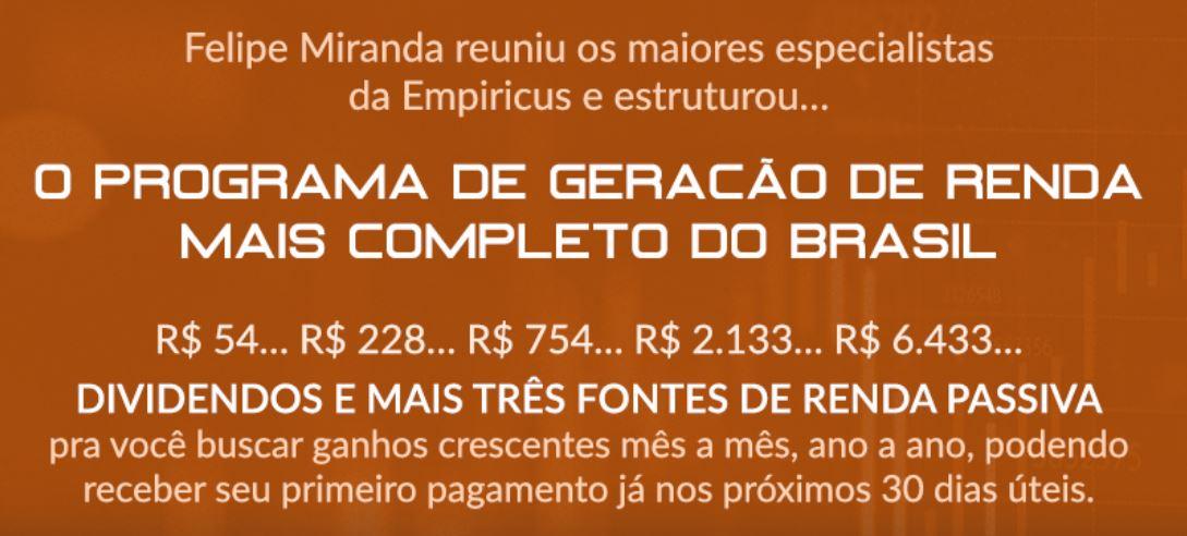 Carta de venda da Empiricus anuncia o programa de geração de renda mais completo do Brasil para buscar ganhos crescentes a cada mês.