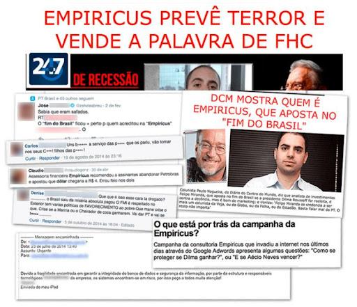"""Manchetes de jornais evidenciam Empiricus e a tese """"O Fim do Brasil"""", de Felipe Miranda, estrategista-chefe e CIO da casa de análise financeira"""